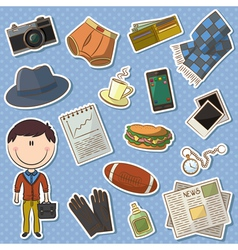 trendy man and male things vector image vector image