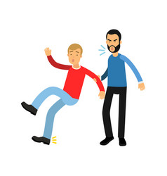 Aggressive bearded man grabbed young guy by hand vector