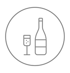 Bottle of champaign and glass line icon vector image vector image