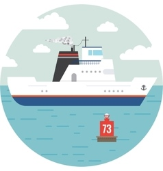 Flat ocean and sea transport boat vector image vector image
