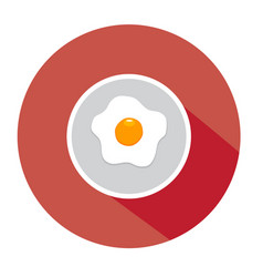Fried egg flat vector