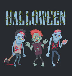 halloween with zombies on vector image