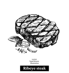 Hand drawn sketch ribeye steak Isolated food on vector image vector image