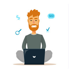 man sitting on the floor and working with laptop vector image vector image