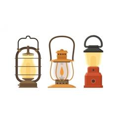 Oil lamp set vector