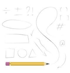 pencil hand drawn shapes vector image vector image
