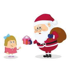 Santa Claus and girl vector image vector image