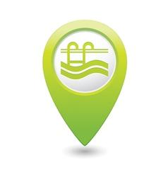 swimmingpool icon green map pointer vector image vector image