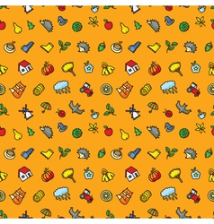 Autumn cute seamless pattern with season objects vector image vector image