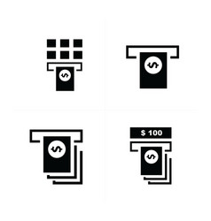Cash machine and stack of dollars icons vector