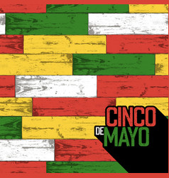 cinco de mayo badge and seamless wooden pattern vector image vector image