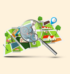 city map with magnifying glass vector image vector image