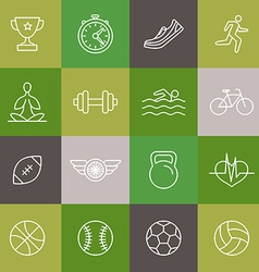 linear sport and fitness icons and signs vector image vector image