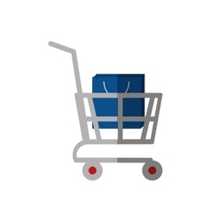 shopping cart online bag gift color shadow vector image vector image