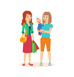 two girls make a joint purchase in the mall vector image vector image