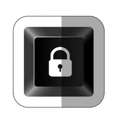 black button lock icon vector image vector image