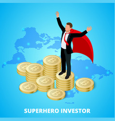 isometric superhero businessman investor on a vector image vector image