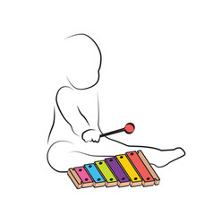 kid playing xylophone child development and vector image vector image