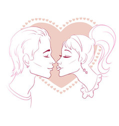 kissing with love vector image