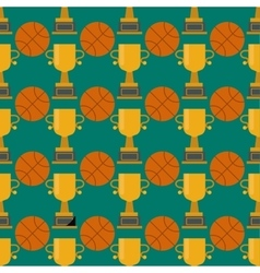 Orange basketball ball and gold cup seamless vector image