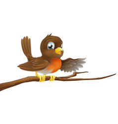 robin bird on branch pointing vector image