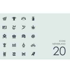 Set of Netherland icons vector image