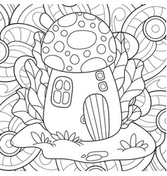 adult coloring bookpage a kawaii mushroom house vector image