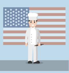 american chef cartoon vector image