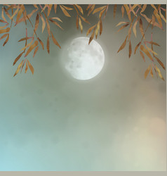 Autumn landscape with full moon vector