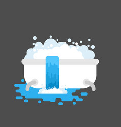 bath is clogged with water leaking out vector image