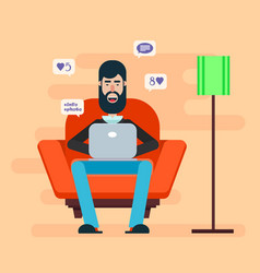 bearded man sitting in a chair with a laptop on vector image