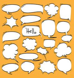 big set of cartoon comic speech bubbles vector image