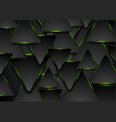 black and glowing green triangles abstract vector image
