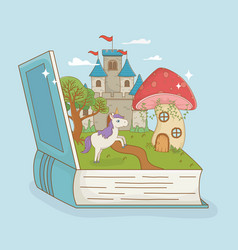book open with fairytale castle and unicorn vector image