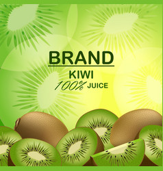 Brand kiwi juice concept background realistic vector