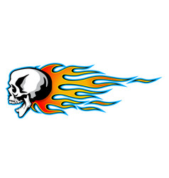 Burning skull with classic tribal flames isolated vector