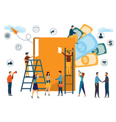 business people working with a big folder in an vector image