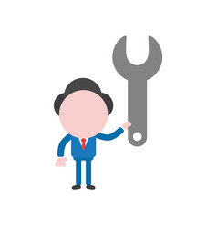 Businessman character holding spanner vector