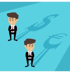 Businessmen shadow currency vector image