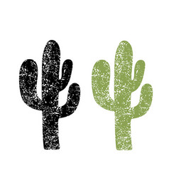 cactus silhouette grunge cactus on old paper vector image