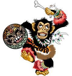 Cartoon chimp dancing shaman vector