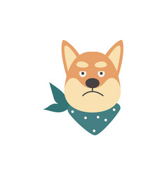 Cartoon shiba inu head with angry and disappointed vector