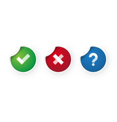 check mark and cancel stickers icon vector image