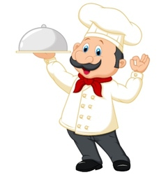 Chef cartoon holding platter vector image