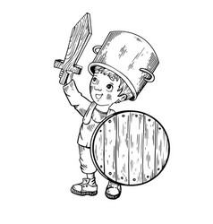 Child in wooden armor engraving vector