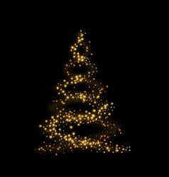 christmas tree card background gold christmas vector image