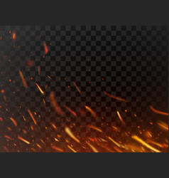Close-up hot fiery sparkles and flame particles vector