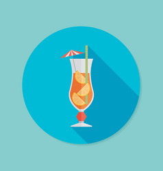 cocktail flat icon with long shadow eps10 vector image