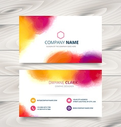 Colorful ink style business card template design vector