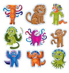 Comic characters set funny alien monsters vector